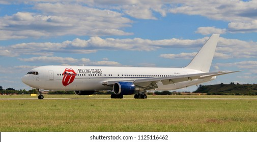 "PRAGUE, CZECH REPUBLIC - JULI 1, 2018: Private Boeing 767 of Rolling Stones on board with all band members. Photo was taken 3 days before their concert in Prague, which is a part of ""No Filter"" tour."