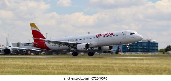 PRAGUE, CZECH REPUBLIC - JULI, 4, 2017: Photo of an Airbus A320 of Iberia airline, landing in Prague airport.