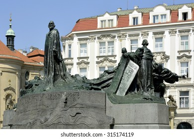 Prague, Czech Republic - July 07, 2015: Jan Hus Memorial at the Old Town Square of Prague in the Czech Republic.