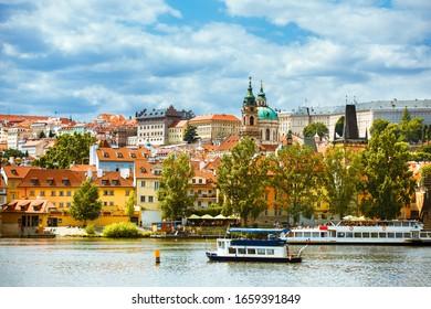 Prague / Czech Republic - July 08 2019: Vltava River