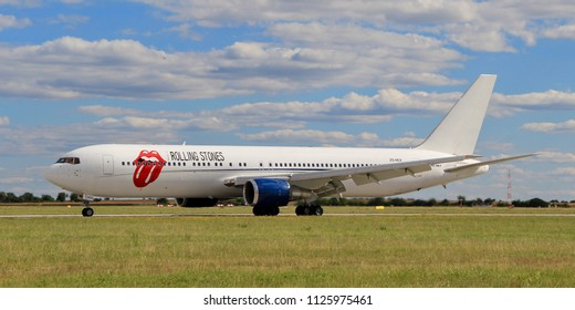 "PRAGUE, CZECH REPUBLIC - JULY 1, 2018: Private Boeing 767 of Rolling Stones on board with all band members. Photo was taken 3 days before their concert in Prague, which is a part of ""No Filter"" tour."