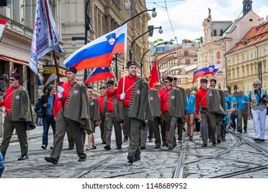 PRAGUE, CZECH REPUBLIC - JULY 1, 2018: Slovenian visitors parading at Sokolsky Slet, a once-every-six-years gathering of the Sokol movement - a Czech sports association