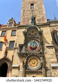 PRAGUE, CZECH REPUBLIC - JULY 1, 2019:The Prague Astronomical Clock, or Prague Orloj, a medieval astronomical clock located in Prague, the capital of the Czech Republic.