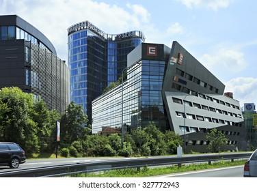 Prague, Czech Republic - July 1, 2013: Modern office building in Prague.