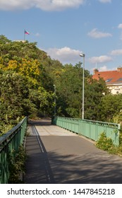 Prague, Czech republic - July 10 2019: Former rail brigde under Vitkov hill. The rail track has been converted into a biking and pedestrian trail.