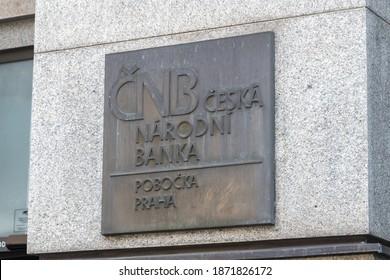 Prague, Czech Republic - July 10, 2020: Sign Czech National Bank, (Czech: Ceska narodni banka, CNB) is the central bank and financial market supervisor in the Czech Republic.