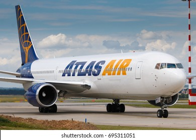 PRAGUE, CZECH REPUBLIC - JULY 10: Boeing 767-300 of Atlas Air arrive to PRG Airport in Prague on July 10, 2017. Atlas Air is a cargo airline, passenger charter airline, and aircraft lessor.