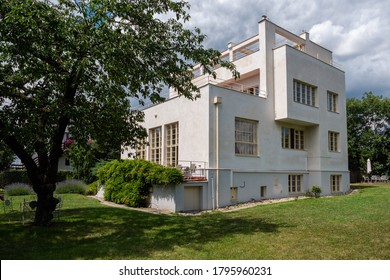 Prague, Czech Republic - July 12 2020: Villa Winternitz, a Modernist and Functionalist Residential Building designed by Adolf Loos and Karel Lhota.