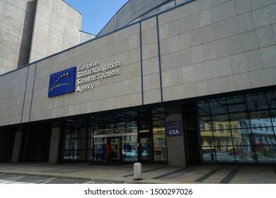 Prague, Czech Republic - July 13 2019: European Global Navigation Satellite Systems Agency (GSA GNSS) headquarters building, Galileo navigation system