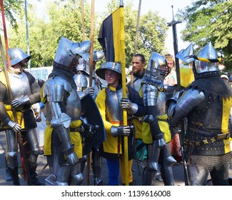 Prague, Czech Republic - July 14, 2018 - Reconstruction of the historical event on the hill Vitkov in Prague. Soldiers and knights in armor are preparing for the decisive battle.