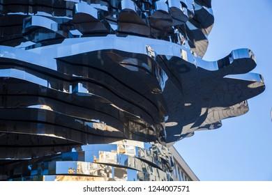 Prague, Czech republic - July 14 2018: A detail of modern sculpture of Franz Kafka in front of a  Shopping Station Quadrio