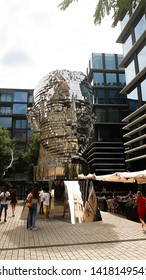Prague Czech Republic - July 18 2018: statue of famous writer Franz Kafka, artwork with rotating pieces from stainless steel located in Prague Praha city centre, capital of Czechia, Central Europe