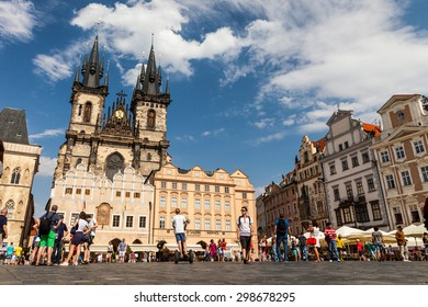PRAGUE, CZECH REPUBLIC - JULY 18:  The Church of Mother of God in front of Tyn in Prague on July 18, 2015. Prague is the capital and largest city of the Czech Republic.
