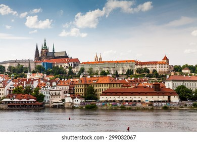 PRAGUE, CZECH REPUBLIC - JULY 18: View to the Prague Castle from Charles Bridge on July 18, 2015. Its the official residence and office of the president of the Czech Republic.