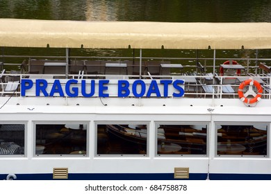 PRAGUE, CZECH REPUBLIC - JULY 20, 2017: Pleasure boat closeup with advertising inscription (Boats of Prague).
