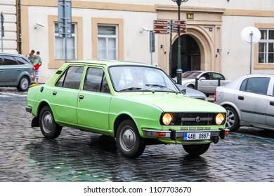 Prague, Czech Republic - July 21, 2014: Motor car Skoda 105 in the city street.