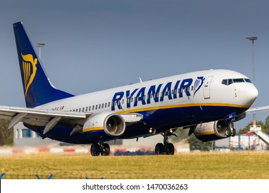 PRAGUE, CZECH REPUBLIC - JULY 21: Boeing 737 of Ryanair  arrival to PRG Airport in Prague on July 21, 2019. Ryanair is an Irish low-cost airline