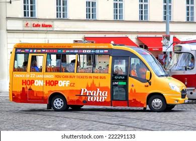 PRAGUE, CZECH REPUBLIC - JULY 21, 2014: Hop on hop off bus Irisbus Daily Tourys at the city street.