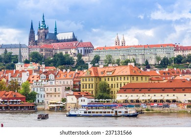 PRAGUE CZECH REPUBLIC -  JULY 21:  Panoramic view of Prague in Czech Republic on July 21, 2014. Prague historical Center, including most of the city major sites, became a UNESCO-listed site in 1992.