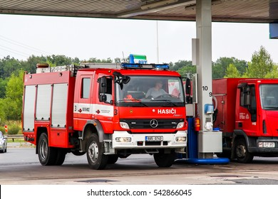 PRAGUE, CZECH REPUBLIC   JULY 21, 2014: Fire Truck Mercedes Benz Atego