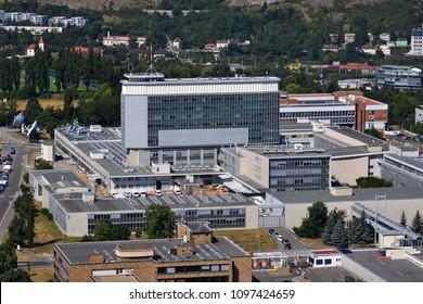 PRAGUE, CZECH REPUBLIC - JULY 22 2015: Czech public television broadcaster Ceska televize headquarters building on July 22, 2015 in Prague, Czech Republic.