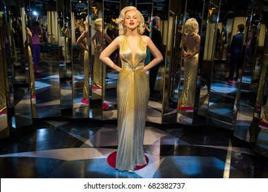 Prague, Czech republic, July 22, 2017: Marilyn Monroe in Grevin museum of the wax figures in Prague.