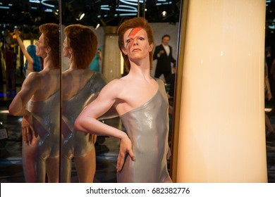 Prague, Czech republic, July 22, 2017: David Bowie in Grevin museum of the wax figures in Prague.