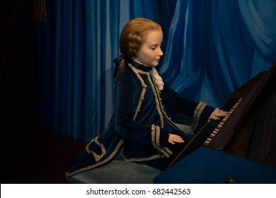 Prague, Czech republic, July 22, 2017: Young Mozart in Grevin museum of the wax figures in Prague.