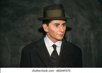 Prague, Czech republic, July 22, 2017: Franz Kafka in Grevin museum of the wax figures in Prague.