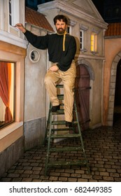 Prague, Czech republic, July 22, 2017: Alfons Mucha in Grevin museum of the wax figures in Prague.