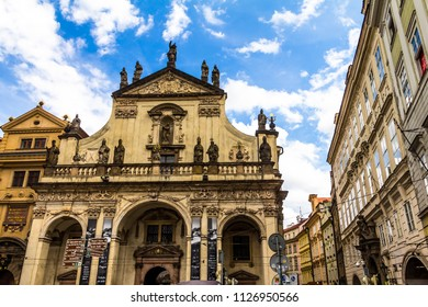 Prague, Czech Republic -July 23,2017: St. Salvator Church is one of two churches in the Klementinum, in Old Town, Prague, Czech Republic