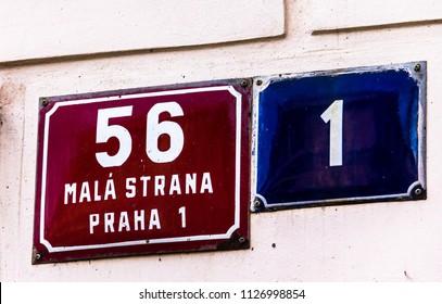 Prague, Czech Republic -July 23,2017: Street sign, Prague, Mala Strana