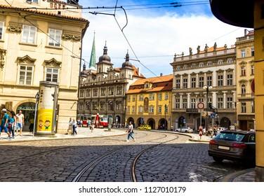 Prague, Czech Republic -July 23,2017: Old Prague street in Mala Strana