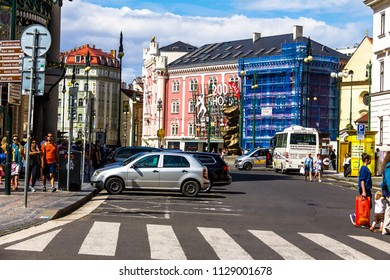 Prague, Czech Republic -July 23,2017: Old Town Republic Square with tourists. It's a historic square in the Old Town quarter of Prague, popular with tourists