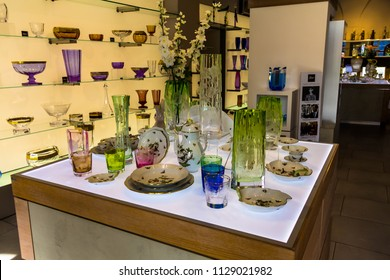 Prague, Czech Republic -July 23,2017: Store of famous Bohemian glass or Bohemia crystal pieces