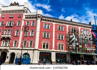 Prague, Czech Republic -July 23,2017: Tourists and locals on Republic Square (Namesti Republiky) in Old Town (Stare Mesto) near shopping center Palladium