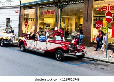 Prague, Czech Republic -July 23,2017: Vintage cars for sightseeing in Prague city center