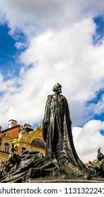 Prague, Czech Republic -July 23,2017: The Jan Hus monument at the old town square in Prague, Czech Republic during day