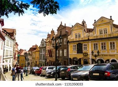 Prague, Czech Republic -July 23,2017: Old Prague street in Hradcany,