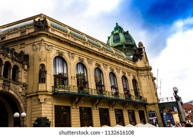 Prague, Czech Republic -July 23,2017: Municipal House (Smetana Hall) with unidentified people. The City is home to many cultural attracts in historic center