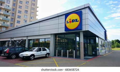 PRAGUE, CZECH REPUBLIC - JULY 24, 2017: Exterior view of the LIDL supermarket. LIDL is a German discount chain founded in 1973 by German merchant Dieter Schwarz.