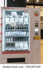 Prague, Czech Republic - July 25, 2020: Batist Medical vending machines for masks, gloves and hand sanitiser