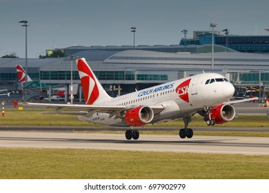 PRAGUE, CZECH REPUBLIC - JULY 29: Airbus A319 of Czech Airlines ltake off from PRG Airport in Prague on July 29, 2017. Czech Airlines (CSA) is the flag carrier of Czech Republic