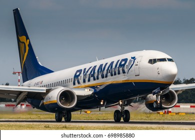 PRAGUE, CZECH REPUBLIC - JULY 29: Boeing 737-800 of Ryanair take off from PRG Airport in Prague on July 29, 2017. Ryanair is the Irish lowcost company.