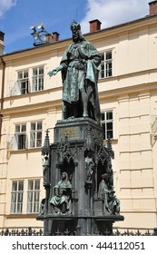 Prague, Czech Republic - July 29,2012:Monument to Charles IV near the Charles Bridge in Prague