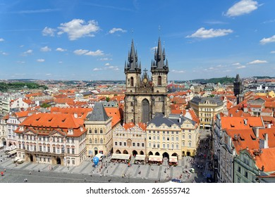 PRAGUE, CZECH REPUBLIC - JULY 3, 2014: Aerial view of the Old Town Square with the Tyn Church from the Old Town Hall.