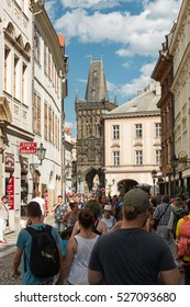 PRAGUE, CZECH REPUBLIC - JULY 31, 2016: View Of The Powder Tower Or Powder Gate. It Is One Of The Original City Gates, Dating Back To The 11th Century.