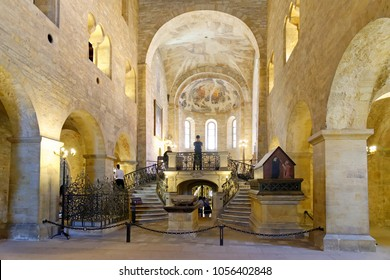 PRAGUE, CZECH REPUBLIC - JULY 4, 2014: Interior of the Romanesque Basilica of St George. It s the oldest surviving church within Prague Castle, founded by Vratislaus I of Bohemia in 920.