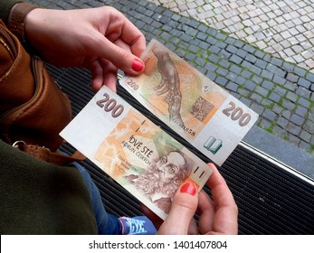 Prague, Czech republic - July, 4, 2017: The state currency of the Czech Republic - Czech koruna.
