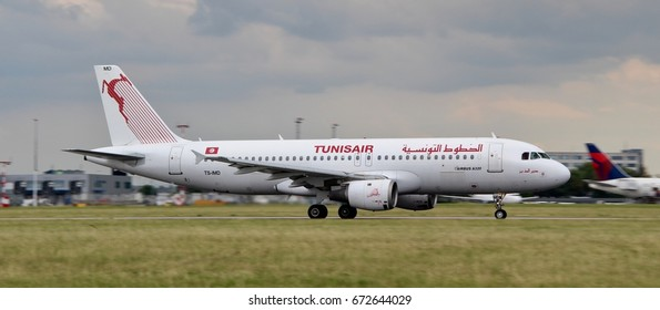 PRAGUE, CZECH REPUBLIC - JULY, 4, 2017: Photo of an Airbus A320 of Tunis Air airline, taking off from Prague airport. This airplane has registration TS-IMD.